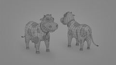 Cartoon Cow Wireframe